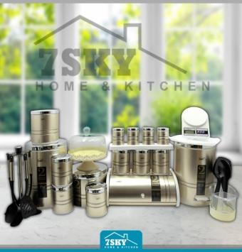 Kitchen service 29 pieces of beige steel