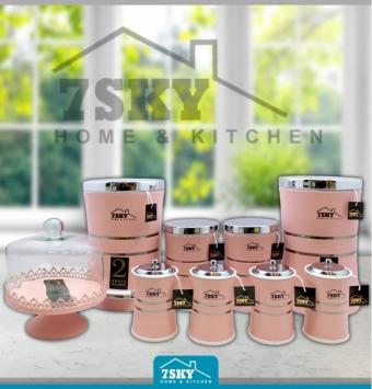 طقم مطبخ 10 قطع من اللون الوردي
