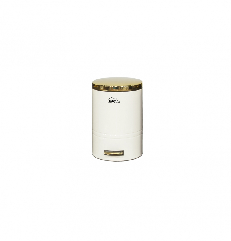 سطل زباله فلورانس 14 لیتر سفید درب طلایی