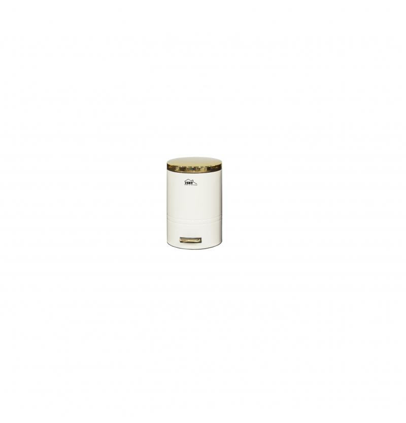 سطل زباله فلورانس 8 لیتر سفید درب طلایی