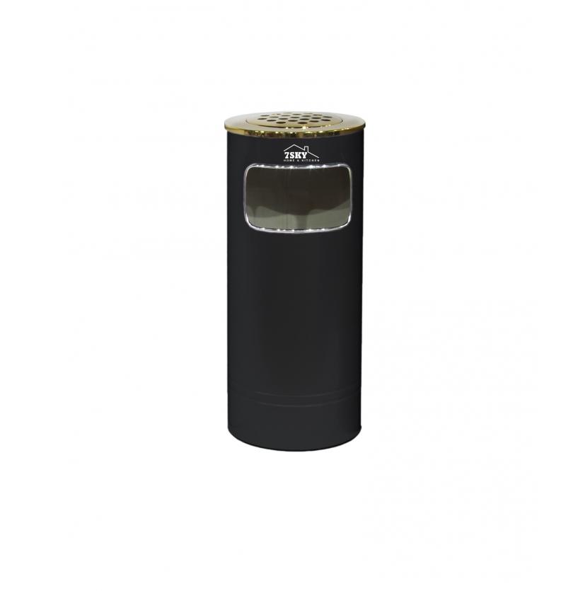 سطل زباله برگامو 18 لیتر مشکی درب طلایی