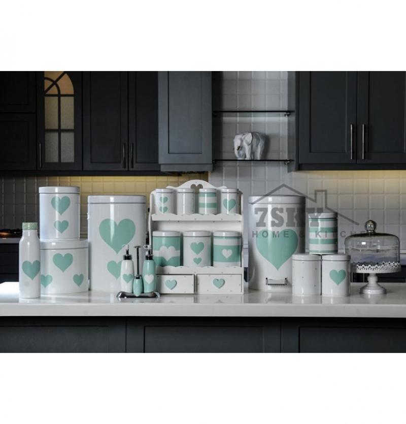 سرویس آشپزخانه فانتزی 23 پارچه سفید سبز