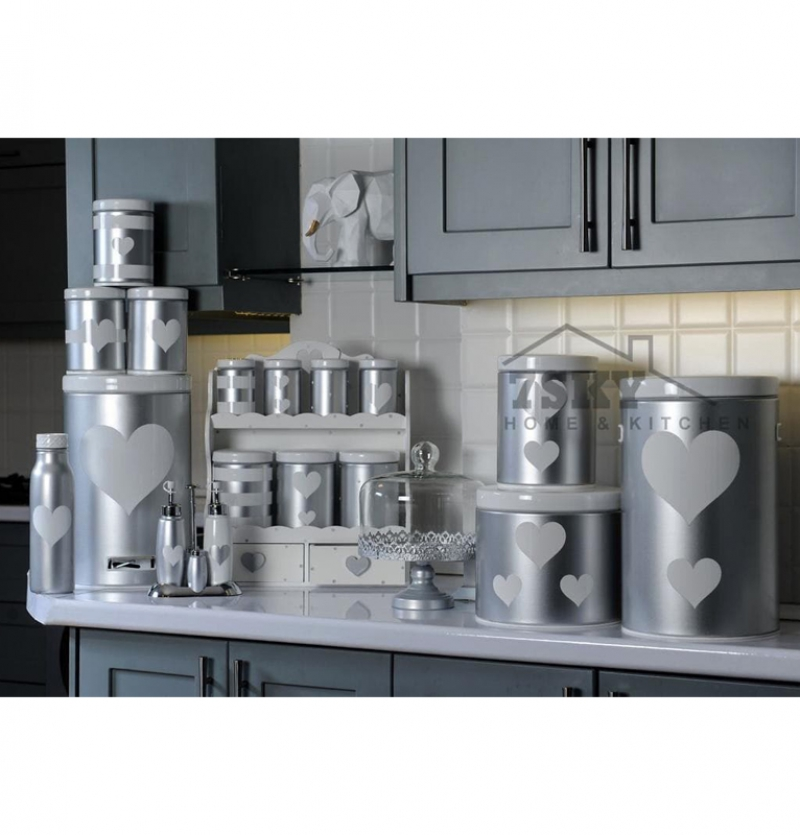 Fantasy kitchen set 23 pieces metallic silver white