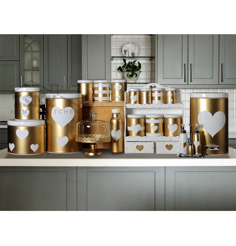 Fantasy kitchen set 23 pieces metallic Golden white