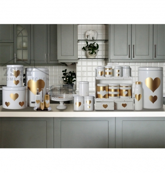 Fantasy kitchen set 23 pieces metallic white Golden