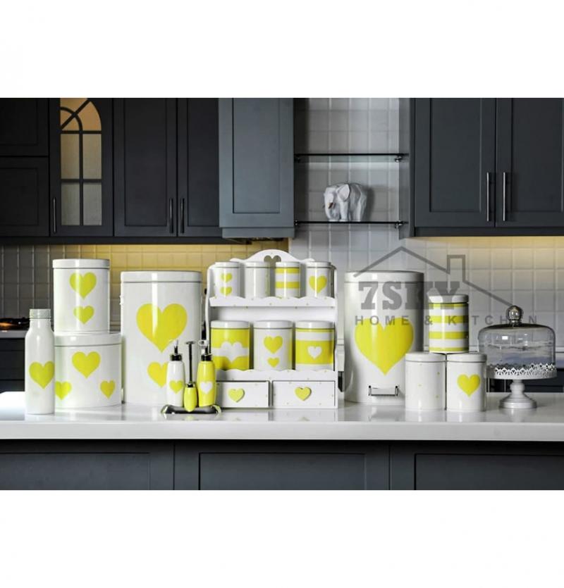 سرویس آشپزخانه فانتزی 23 پارچه سفید لیمویی