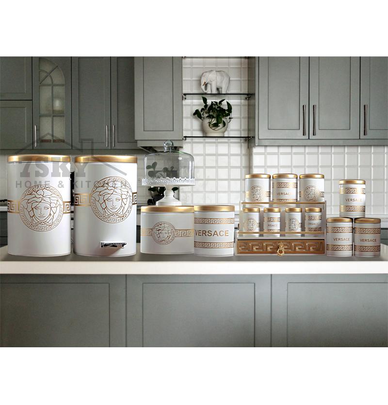 Versace 17-piece kitchen set (White-Gold)