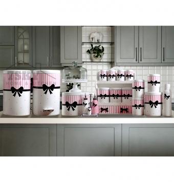 Kitchen set 23 pieces black bow tie design