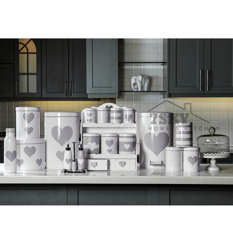 سرویس آشپزخانه فانتزی 23 پارچه سفید طوسی