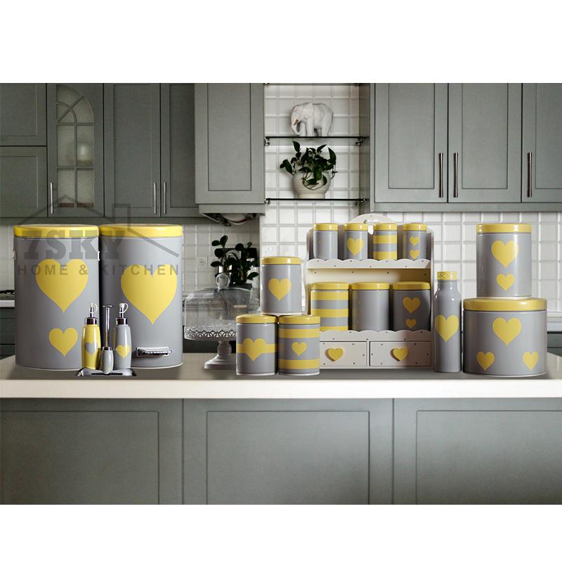 سرویس آشپزخانه فانتزی 23 پارچه طوسی لیمویی