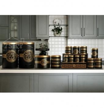طقم مطبخ 17 قطعة فيرساتشي (أسود-ذهبي)