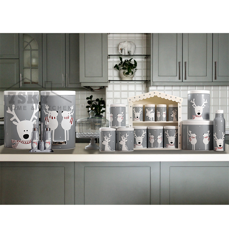 Kitchen set 23 pieces gray deer design