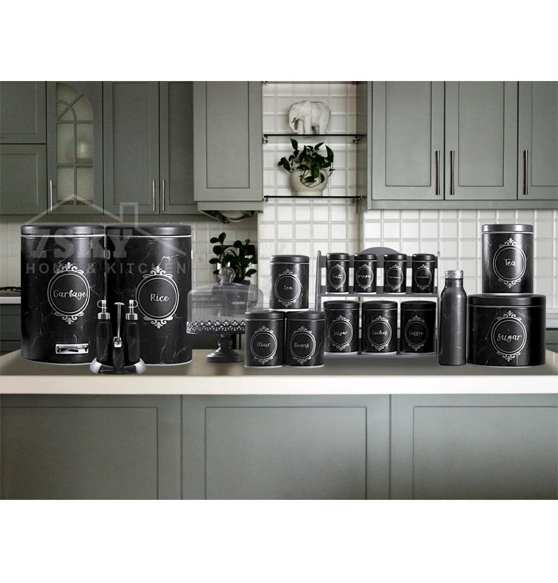 سرویس آشپزخانه 23پارچه طرح سنگ مشکی نقره ای