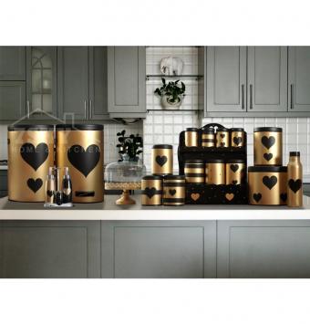 طقم مطبخ فاخر 23 قماش الذهبي الأسود