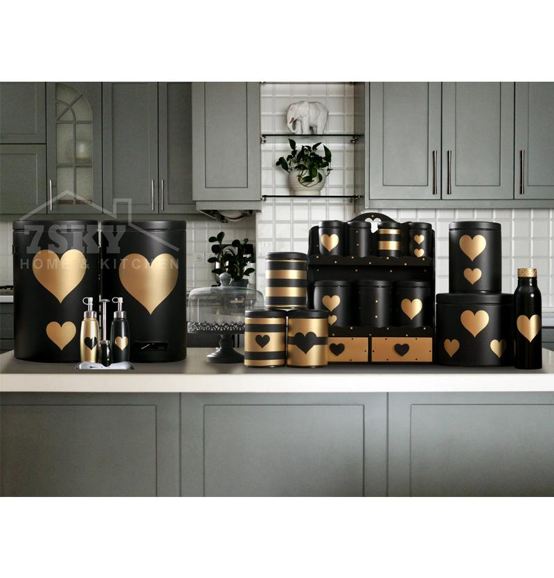 سرویس آشپزخانه فانتزی 23 پارچه مشکی طلایی