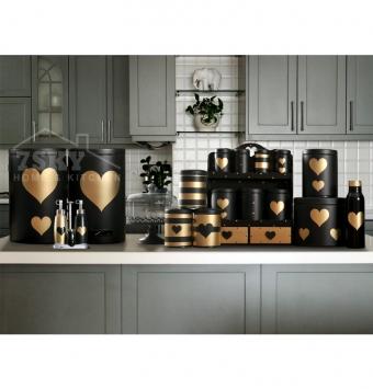 طقم مطبخ فاخر 23 قماش الأسود الذهبي